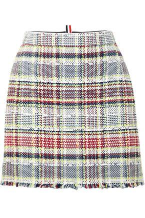 THOM BROWNE Checked cotton-blend tweed mini skirt
