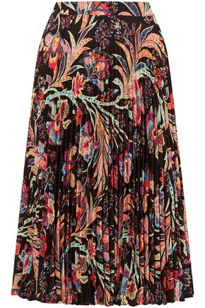 ETRO Pleated printed crepe skirt