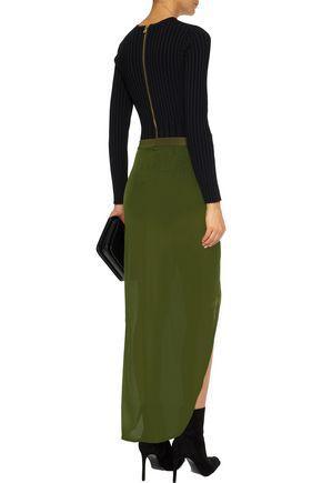 BALMAIN Wrap-effect cotton-blend jersey maxi skirt