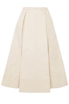 MARNI Pleated cotton and linen-blend twill midi skirt