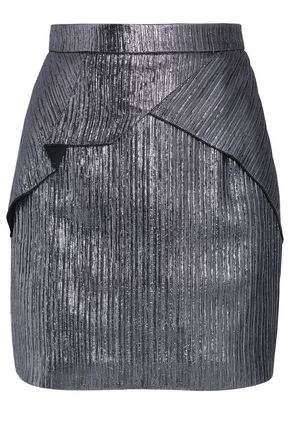 ROLAND MOURET Ruffled metallic knitted mini skirt
