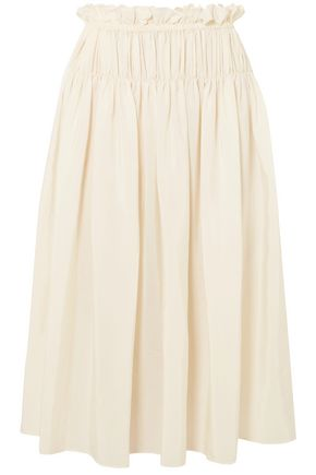 JIL SANDER Eterea gathered silk crepe de chine skirt