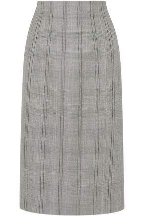 THOM BROWNE Lace-up Prince of Wales checked wool and silk-blend skirt