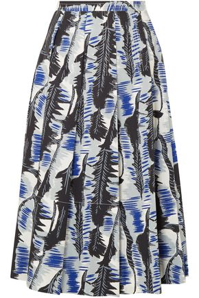 MARNI Printed pleated cotton-poplin midi skirt