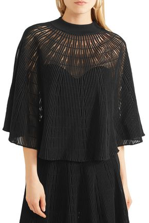 SONIA RYKIEL Cape-effect ribbed wool-blend top
