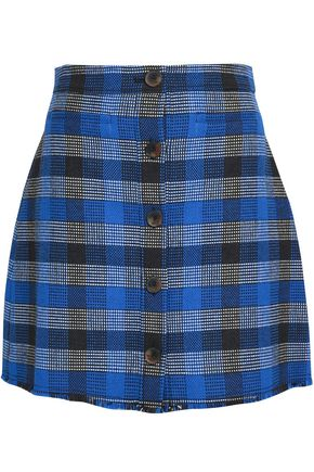 DEREK LAM 10 CROSBY Frayed checked woven mini skirt