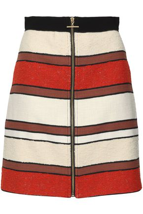 DEREK LAM 10 CROSBY Striped cotton-blend bouclé-tweed mini skirt