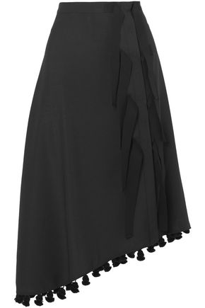 ALTUZARRA Basilica asymmetric tasseled wool and mohair-blend skirt