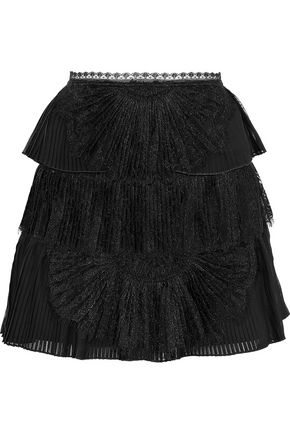 ALICE + OLIVIA Iggy lace-paneled pleated tiered organza mini skirt