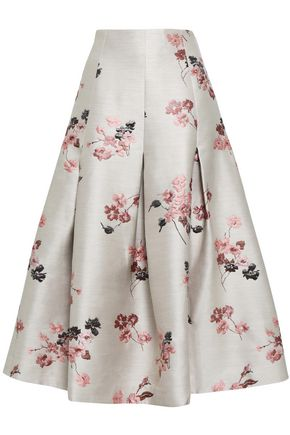 CO Pleated metallic floral-jacquard midi skirt