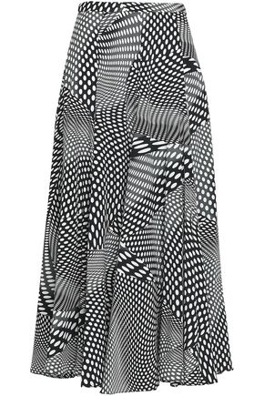 CO Polka-dot silk crepe de chine midi skirt