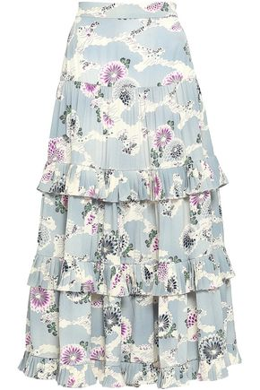CO Floral-print tiered silk crepe de chine midi skirt