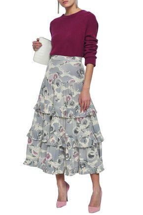 CO Floral-print tiered silk crepe de chine midi skirt