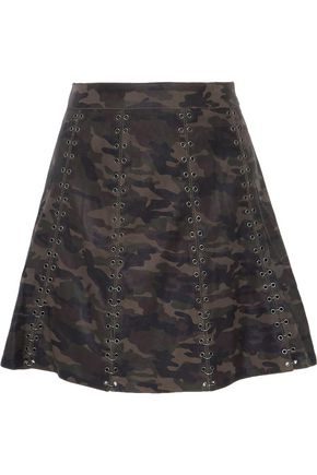 HAUTE HIPPIE Eyelet-embellished printed leather mini skirt