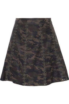 4d80912c6 HAUTE HIPPIE Eyelet-embellished printed leather mini skirt