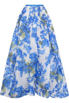 CAROLINA HERRERA Pleated floral-print silk-gazar maxi skirt