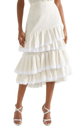 BROCK COLLECTION Sadie tiered gauze-trimmed cotton and silk-blend midi skirt