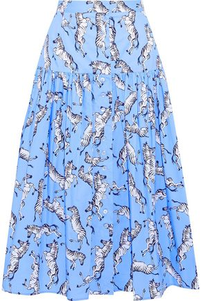 CAROLINA HERRERA Gathered printed stretch-cotton poplin midi skirt