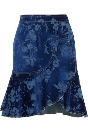 ROBERTO CAVALLI Wrap-effect burnout velvet and denim mini skirt