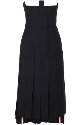 THOM BROWNE Strapless lace-up wool-twill midi dress