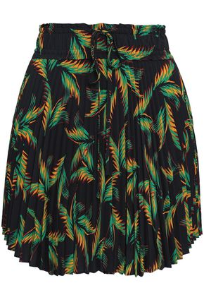 A.L.C. Scout pleated printed crepe de chine mini skirt