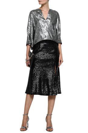 A.L.C. Braxton sequined mesh midi skirt