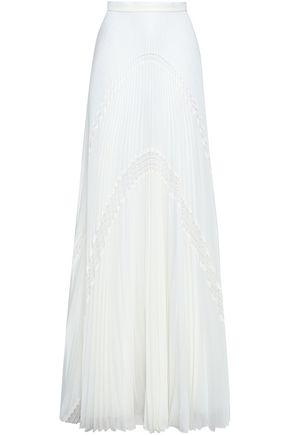 ZUHAIR MURAD Lace-trimmed georgette plissé maxi skirt
