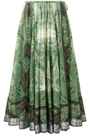 ETRO Printed cotton and silk-blend midi skirt