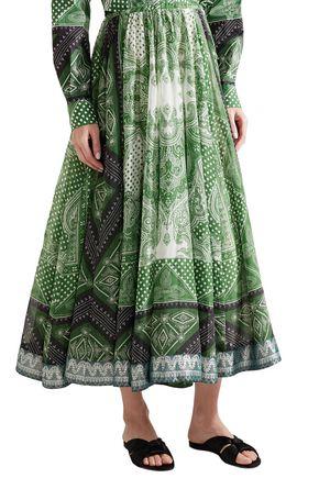 ETRO Printed cotton and silk-blend midi skirt
