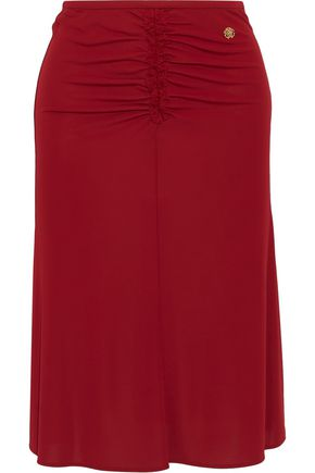 ROBERTO CAVALLI Ruched lace-trimmed jersey skirt
