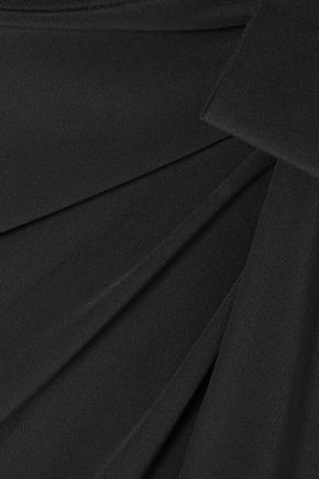 SAINT LAURENT Knotted silk crepe de chine midi skirt