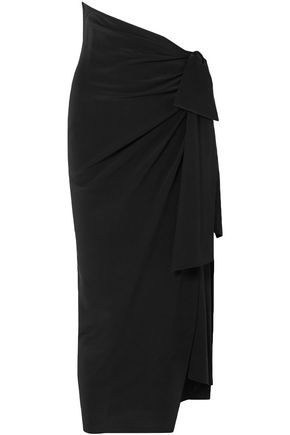 SAINT LAURENT Knotted silk crepe de chine midi skirt