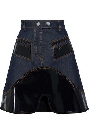 ELLERY Vontz vinyl-paneled denim mini skirt