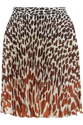 MARCO DE VINCENZO Printed pleated satin-twill mini skirt