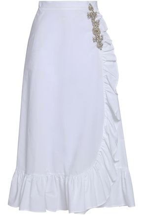 CHRISTOPHER KANE Ruffled embellished cotton-poplin midi skirt