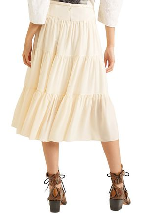 CHLOÉ Tiered crepe midi skirt