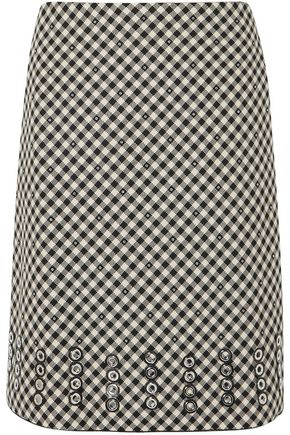 BOTTEGA VENETA Eyelet-embellished gingham cotton and wool-blend skirt