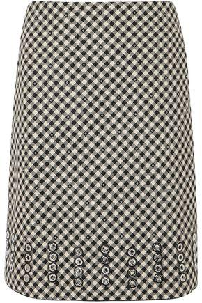 BOTTEGA VENETA 装飾付き ギンガム コットン&ウール混 スカート