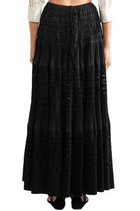 ALAÏA Laser-cut cotton-blend maxi skirt