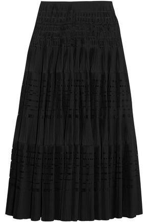 ALAÏA Laser-cut cotton-blend maxi skirt