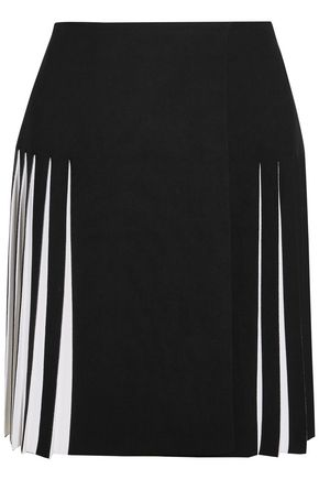 ALAÏA Two-tone stretch-ponte mini skirt