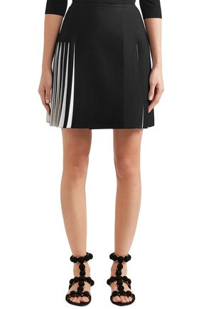 ALAÏA Pleated two-tone knitted mini skirt