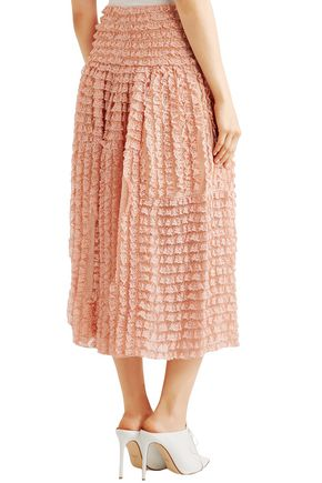 CHLOÉ Ruffled lace-appliquéd silk-organza midi skirt