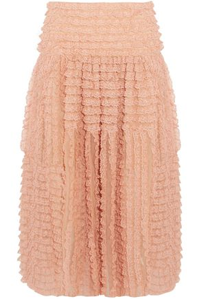 CHLOÉ Ruffled lace-appliquéd silk-organza midi skirt