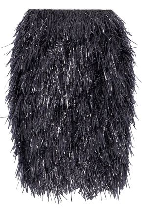 GOEN.J Fringed wool and cashmere-blend mini skirt