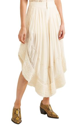 CHLOÉ Lace-trimmed crepe wide-leg pants