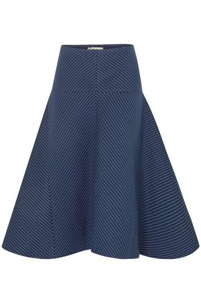FENDI Flared pinstriped cotton-blend gabardine midi skirt
