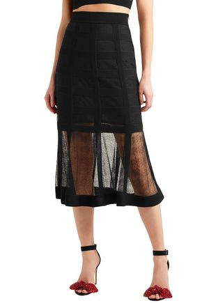 ALEXANDER MCQUEEN Lace-paneled stretch-knit midi skirt