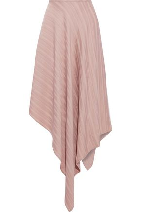 SID NEIGUM Asymmetric striped satin-jacquard midi skirt