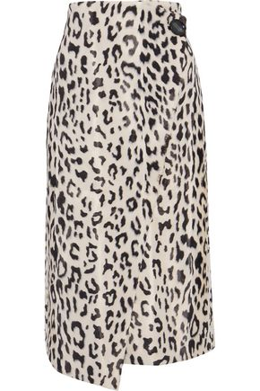GOEN.J Leopard-print cotton-blend faux fur midi wrap skirt